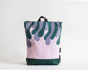 """Pink waterproof backpack, Printed """"Moss"""" design, Printed laptop backpack"""