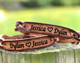 Custom  Bracelets, His and Her Bracelets, boyfriend gift, girlfriend gift, Both included, Names Engraved Free! Made in the USA
