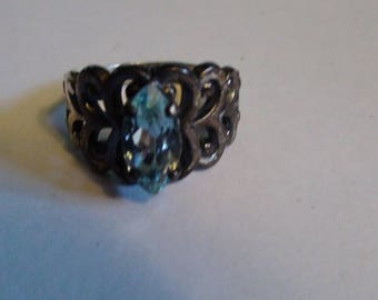 marquis cut blue topaz in sterling silver