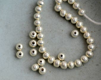 50 Karen Hill Tribe Silver Beads, 5mm Round Silver Beads, Thai Silver Beads, Hill Tribe Silver Jewelry, Handmade Beads, 50 Beads, AL15-013