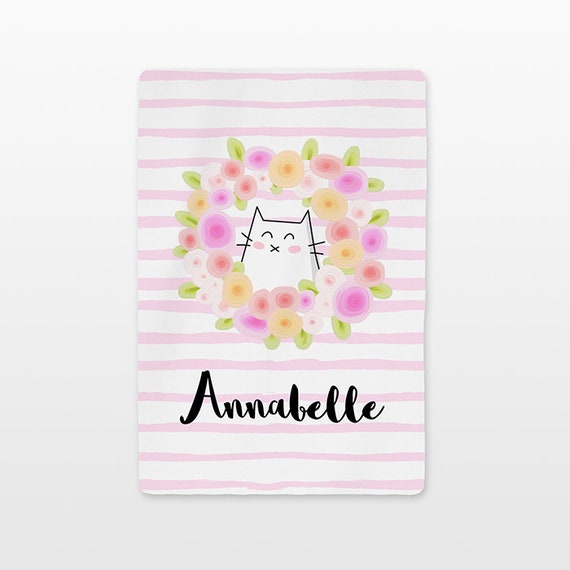 Cat Floral Baby Blanket Personalized Custom Name Baby Girl Throw Minky Soft Fleece Kids New Baby Gift Idea Cute Flower Wreath Stripe Pink