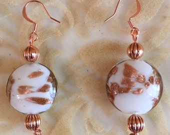 Lampworked Glass and Copper Earrings