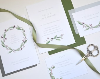 Garden Wedding Stationery - Foliage Green - including Save the Dates.