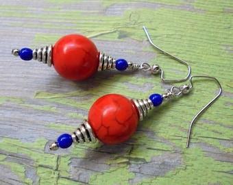 Orange and Blue Boho Earrings (4135)