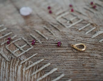 Ruby Necklace with Gold Geometric Charm