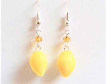 Food Jewelry Lemon Drop Earrings, Candy Earrings, Miniature Food Jewellery, Mini Food Earrings, Candy Jewelry, Kawaii Jewelry, Lemon Jewelry