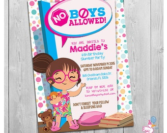 Slumber Party Invitation, Slumber Party Invites, Sleepover Invitation, Sleepover Birthday Invitation