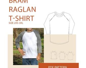 Mens raglan t-shirt PDF sewing pattern| Raglan t-shirt PDF sewing pattern| Mens pdf pattern raglan tee shirt| Mens raglan T-shirt pattern