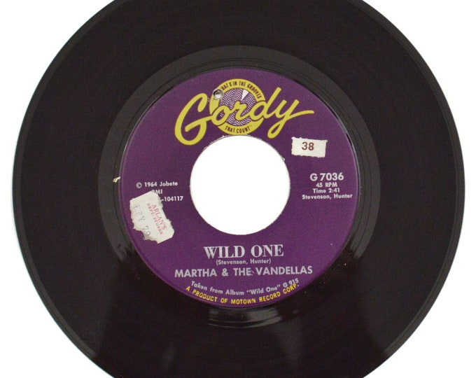 Vintage 60s Martha & The Vandellas Wild One Motown Soul 45 RPM Single Record Vinyl
