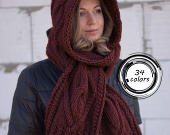 Hooded Scarf. Long Scarf. Wool Scarf. Hood, Long scarf hooded, Chunky scarf, Wool cowl, LoveKnittings