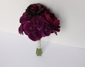 8'' Peony Rose Ranunculus Silk Bouquet in Dark Purple (Eggplant, Grape) Fall Wedding, Purple Bouquet, Winter Wedding, Vintage Style