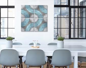 Original Painting Bluish silver HOME DECOR, Acrylic Painting, 4 Painting Set, Unique Home decor, Art Office Decor