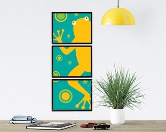 My Froggy Stuff Wall Art for Nursery | Vertical Wall Art for Kids Room | Frog Art Garden Baby Shower Gift | Frog Bathroom Animal Art Print