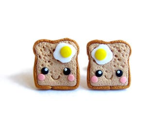 Polymer Clay Earrings, Eggs Earrings, Toast and Egg Earrings, Eggs on Toasts Earrings, Miniature Food Earrings, Food Jewelry, Funny Gifts