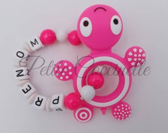 Turtle teether rattle, pink neon and white