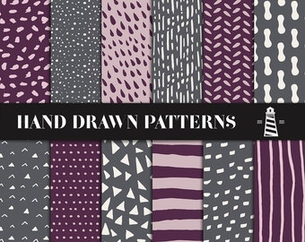Plum And Gray Hand Drawn Patterns, Hand Drawn Digital Paper, 12x12 Inches Scrapbook Paper, Hand Drawn Patterned Backgrounds, BUY12FOR15