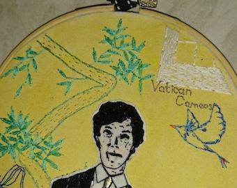"Sherlock embroidery hoop art ""Vatican Cameos"""