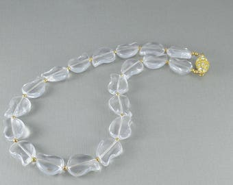 Clear crystal quartz leaf paisley gold necklace and earring set