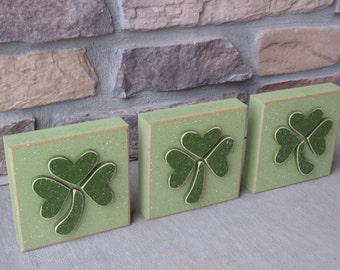 "5"" CLOVER or SHAMROCK block SET of 3 for St. Patricks day and home decor"