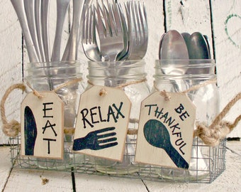 Silverware Holder Tags, Mason Jar Caddy Labels, Utensil Holder, Flatware Caddy, Wood Hang Tags, Rustic Party Decor, Kitchen Organizer, EAT