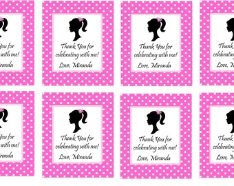 GlAMOUR GIRL DIVA Hot Pink and Black  Favor Tags or Stickers / Dress Up Dolled Up Trendy  Girls Party/Printable File/Mathcing Items Avail