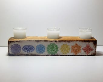 Reiki wooden candle holder,reiki decoupage wooden item,meditation,mandala holdeer