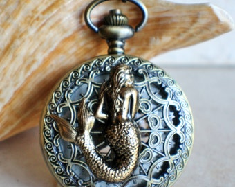 Mermaid pocket watch, mens pocket watch with mermaid mounted on front case