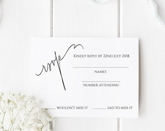 Printable Postcard RSVP Template, Editable rsvp, DIY rsvp , Rsvp Template, EDIT in Word or Pages