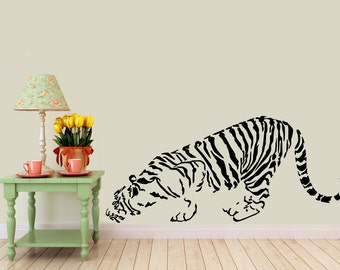 Crouching Tiger vinyl Wall DECAL- Nature, interior design, sticker art, room, home and business decor