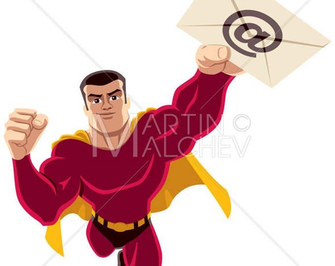 Superhero Flying E-mail - Vector Cartoon Clipart Illustration. super, hero, man, power, mail, envelope, letter, message, bringing, carrying,