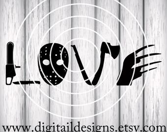 Horror Movie Love SVG - png - eps -dxf - fcm - ai - Cut file - Silhouette - Cricut - Horror Movie SVG - Love Horror - Horror Movie Cut File