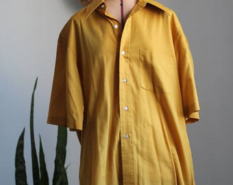 Vintage 70s Ochre Yellow Button Down