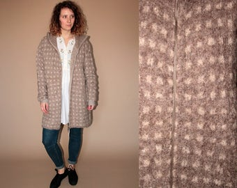 90's vintage women's brown Alpaca kintted maxi sweater/natur cardigan