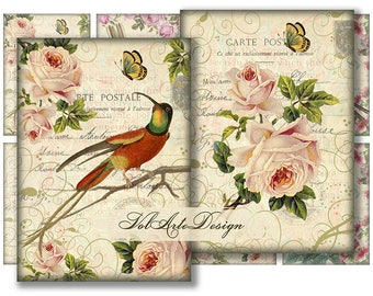 Birds and flowers - printable cards - digital gift tags - digital collage sheet - printable download - set of 8