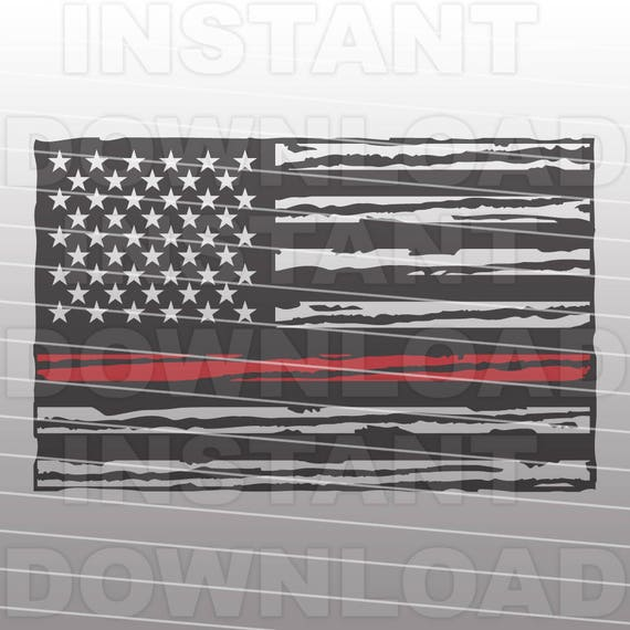 Firefighter American Flag Svg Thin Red Line Svg File