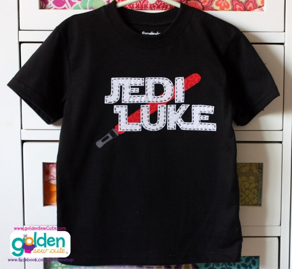Jedi Star Wars Inspired Birthday Name Light Saber Tee, Shirt