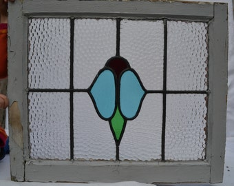 1 British leaded light stained glass panel. R615. WORLDWIDE DELIVERY!!!