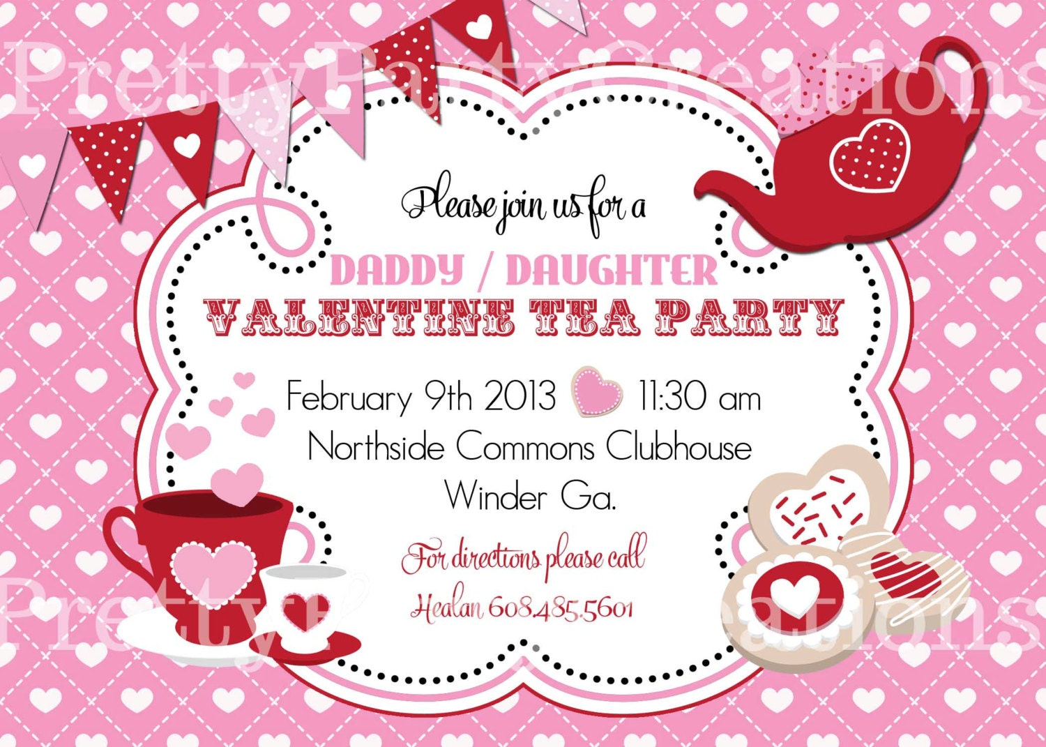 VALENTINE TEA PARTY invitation You Print
