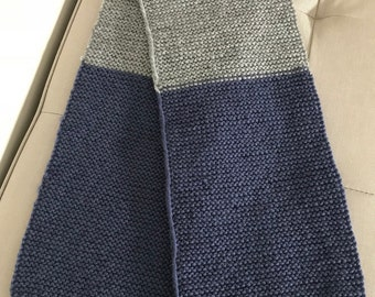 Children's hand knitted scarf. 100% Wool. Boy or Girl. 1-3 years old. Blue & Grey