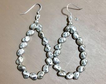 Silver nugget hoop earrings free form nugget earring dangles