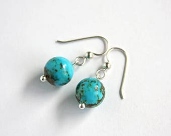 Genuine Turquoise Earrings Sterling Silver Earring Kingman Turquoise Simple Earrings Arizona Turquoise Earrings Round Aqua Blue Brown #17607