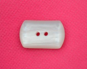 resin white rectan elong 28mm button