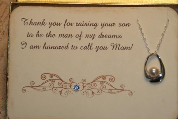 Mother Of The Groom Gift: Items Similar To Mother Of The Groom Card Pearl Necklace