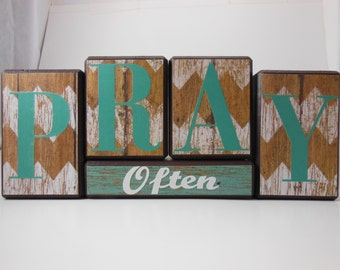 Pray Often Wood Block Set with Rustic Background