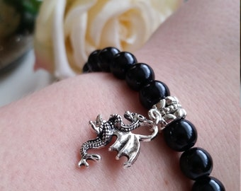 Dragon Bracelet, Dragon Tibetan Silver Charm, Black Pearl Beaded Dragon Bracelet, Game Of Thrones Bracelet, Harry Potter Dragon Bracelet