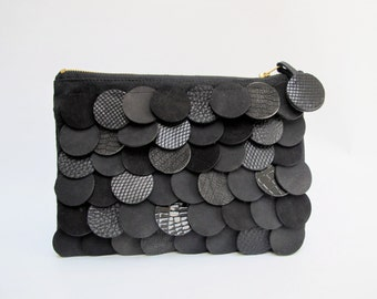 geometric leather bag with black scales