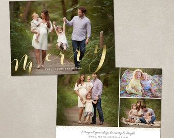 Christmas Card Template -  Photoshop template 5x7 flat card - Elegant Script CC116 - INSTANT DOWNLOAD