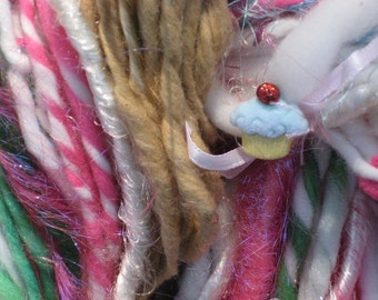 Art Yarn Handspun / CUPCAKE / bulky yarn /  gift for baker by Fiber Artist GERRY