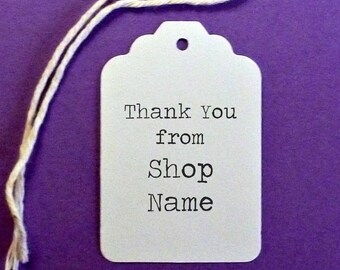 """Large Scalloped Top """"Thank You"""" Tags 1.5""""x 2.25"""" with twine ties . products, pricing or gift tags . shop supplies . personalized white label"""