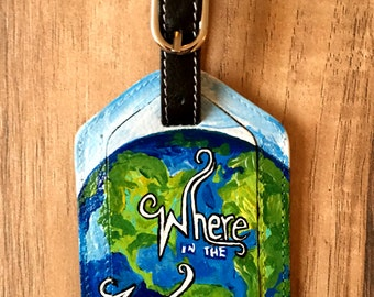 Personalized Hand Painted Leather Luggage Tag - Bag Tag - World